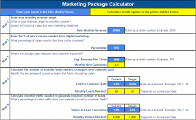 Marketing Calculator Planning Template