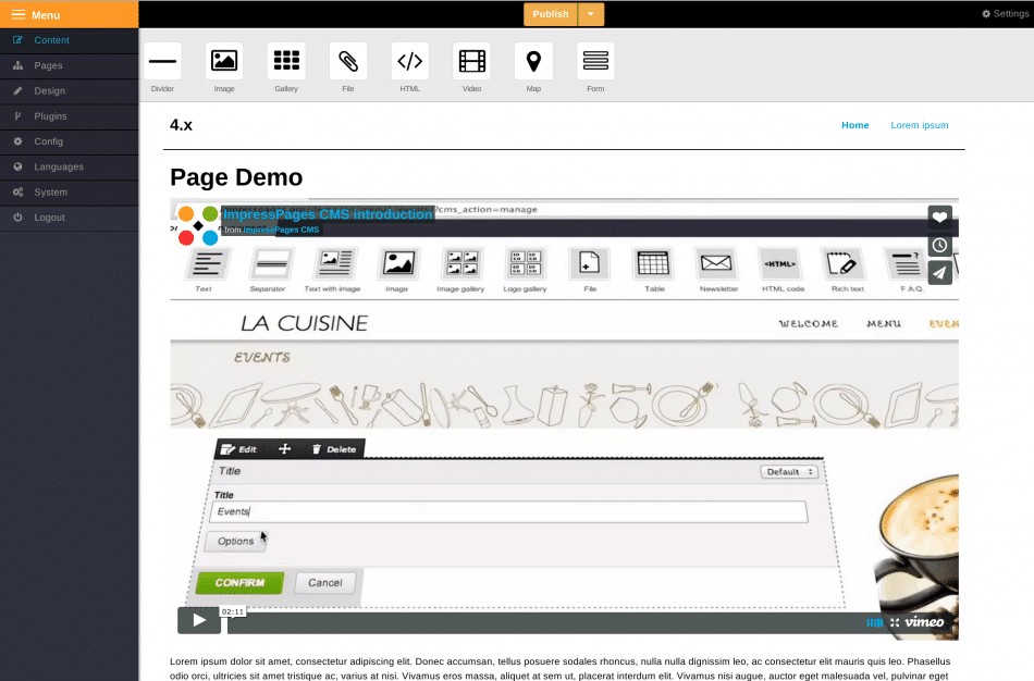 ImpressPages CMS Editor Preview